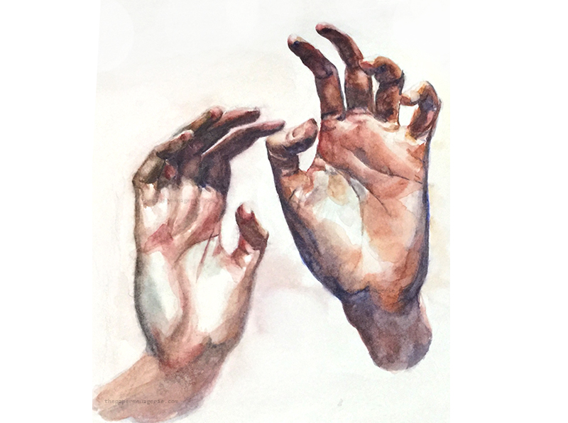 Reverie, expressive watercolor of hands